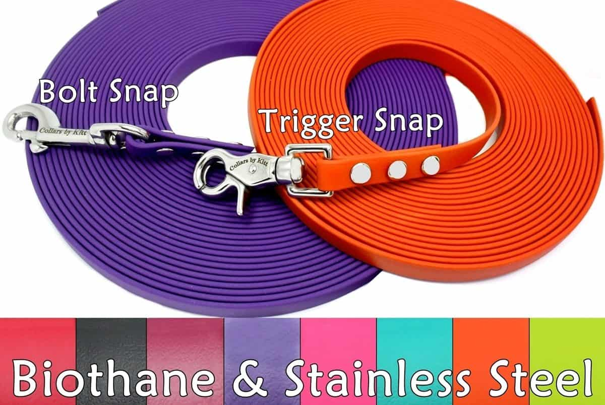 Biothane Tracking Leash snaps